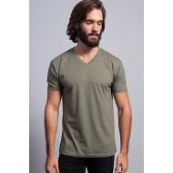 JHK TSUAPICO, Koszulka męska typu V-NECK, khaki heather