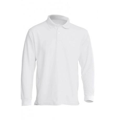 JHK PORA210LS, Polo męskie, dł. rękaw, white