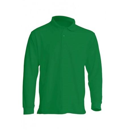 JHK PORA210LS, Polo męskie, dł. rękaw, kelly green