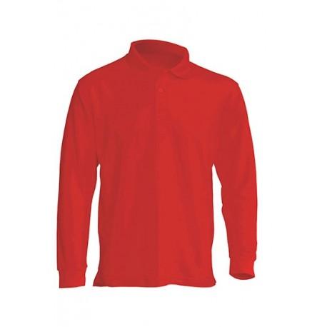 JHK PORA210LS, Polo męskie, dł. rękaw, warm red