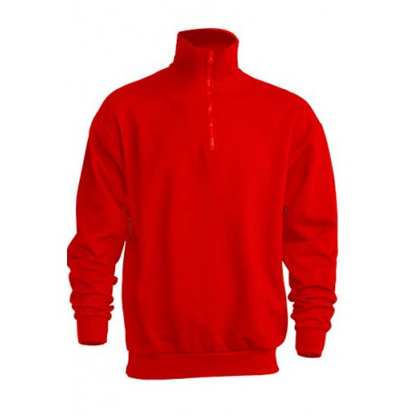 JHK SWRAZIP, Bluza dresowa z krótkim zamkiem męska, red