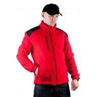 JHK FLRA340, bluza polarowa rozpinana unisex, red/black