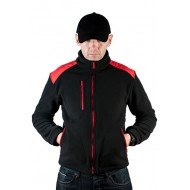 JHK FLRA340, bluza polarowa rozpinana unisex, black/red