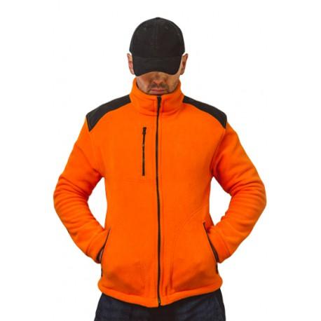 JHK FLRA340, bluza polarowa rozpinana unisex, orange/black