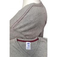 JHK TSUAPICO, Koszulka męska typu V-NECK, grey melange/burgundy